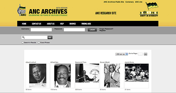 Browse Galleries on the ANC Archives Research Site