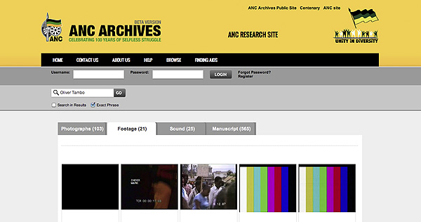 Search results page on the ANC Archives Research Site