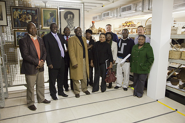 The initial group that met together to strategize about the digitisation of the ANC Archive seen here at the NAHECS Building at the University of Fort Hare. The group included representatives of the ANC, Multichoice, University of Fort Hare and Africa Media Online. These included: Far left: Mandla Langa (ANC), Second left: Professor Michael Somniso (UFH), Third Left: Vuyani Booi (NAHECS, UFH), Fourth left: Moferefere Lekorotsoana (ANC), Sixth left: Yoli Soul (UFH), Eighth left: Eddie McAlone (Multichoice), Tenth left: Vuyolwethu Feni-Fete (NAHECS, UFH) PHOTO: David Larsen / Africa Media Online