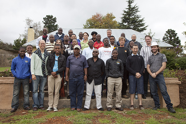 A gathering of the team that undertook the digitisation of the ANC Archive at The Edge in the Hogsback. The team involving staff from Multichoice, the University of Fort Hare, the ANC, Africa Media Online, Creative Spark, Doxa and the International Library of African Music had worked at University of Fort Hare and Rhodes University from October 2011 to March 2012.