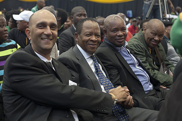 Business leaders present at the ANC Centenary Lecture delivered by President Zuma, From left to right: Multichoice Group CEO,Imtiaz Patel, Executive Chairman ofMultiChoice South Africa Group, Nolo Letele, and Chief Executive Officer of Glenngwe Development, Ike Ngwena. Multichoice was present as funders of the ANC Digital Archive. PHOTO: David Larsen / Africa Media Online