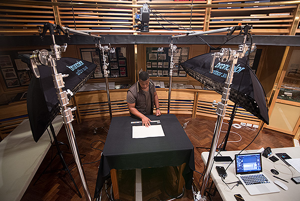 As Africa Media Online we had just recently invested in a Phase One XF camera with IQ3 digital back (seen here syspended above my colleague Nkanyiso Ngcobo) and Broncolor lighting. The Gordon project was the ideal project to work on as the Rijks Museum required conformance to Metamorfoze standards. Our Broncolor Scoro E power pack with two Pulso G 3200J lamps provided beautifully consistent lighting.