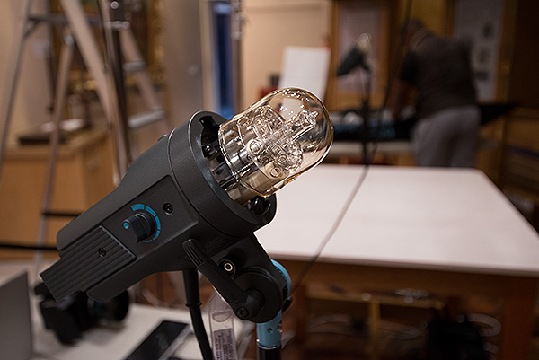 One of our two Broncolor Pulso G 3200J lamps. Swiss company Broncolor is the World's leading lighting company when it comes to consistent colour temperature, which is why many heritage institutions have invested in their system.