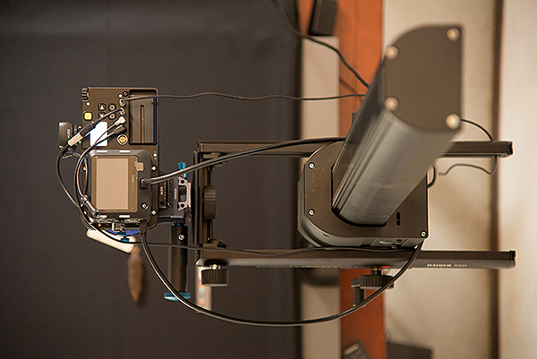 The Alpa 12 FPS attached to our motorized Kaiser copy stand. The copy stand is an essential part of what makes the camera system highly productive providing for precise and predictable placement of the camera