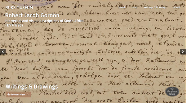 A print screen of the front page of Rijksmuseum's Robert Jacob Gordon Collection website showing one of the Brenthurst Library's Gordon Collection manuscripts that Africa Media Online digitised