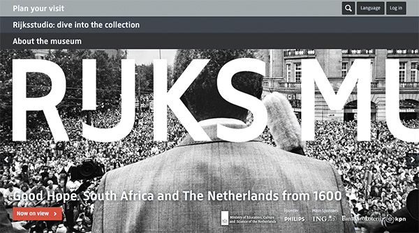 """The splash page of the Rijksmuseum website showcasing the new """"Goede Hoop: South Africa and the Netherlands from 1600"""" exhibition. The Rijksmuseum website is purposefully picture driven with large pictures that show close detail"""