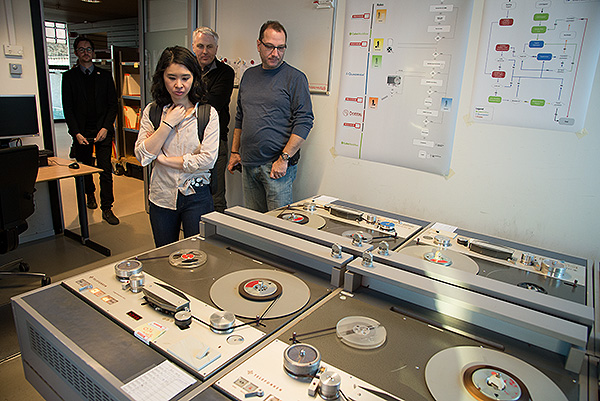 Participants in the Winterschool for Digital Archiving on a tour of the audio digitisation facility at Beeld en Geluid, The Netherlands Institute for Sound and Vision. Every day the Institute digitally archives all of The Netherland's public television and radio stations as well as a number of private stations. In the bowels of the building over 10 Petabytes of data are stored on LTO6 tape which is backed up to a similar facility in another building about a mile away.