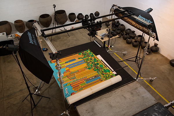 Our new bearing slider suspends our Alpa 12 FPS camera above a Dereck Nxumalo painting that we were digitising at the Natal Society of Arts (NSA) Gallery in Durban, KwaZulu-Natal, South Africa.