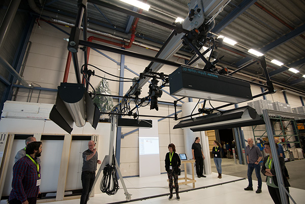 Broncolor lights on a digitisation rig at the Rijksmuseum store at Lelystad in The Netherlands. The workshop, conducted by the Rijksmuseum's Rik Klein Gotink looked at systems for capturing large flat objects in sections and using software to accurately stitch the tiles together.