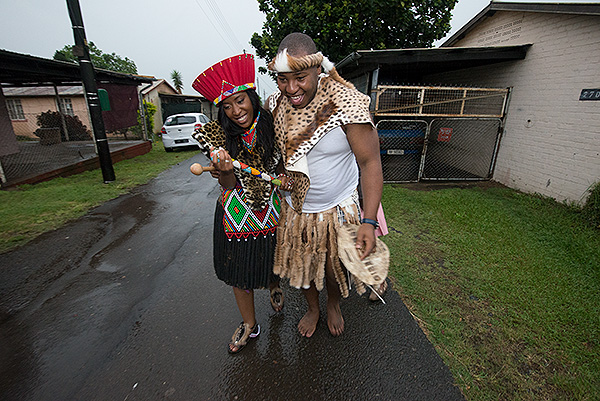 Nkanyiso Ngcobo had to chase and catch Nelly before she escaped during the course of their traditional Zulu ceremony.